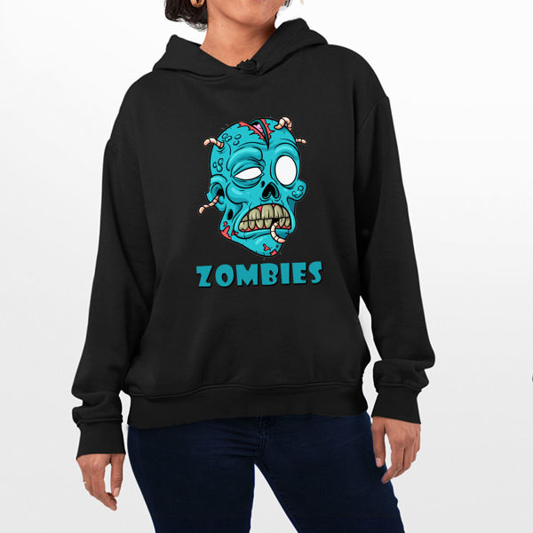 Picture of blue Skull Female hoodie